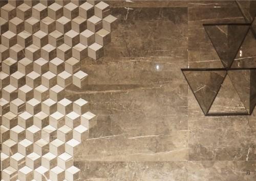 Piso cerâmico hexagonal